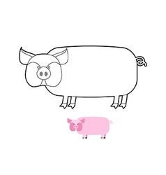 Pig coloring book of farm animals vector