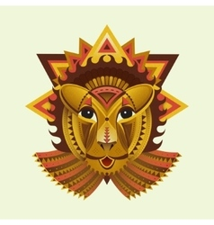 Geometric face of lion builded from circles vector