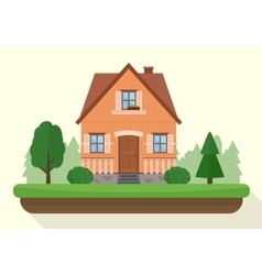 Small house with evening or night landscape vector