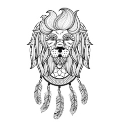 Ornamental lion with dreamcatcher ethnic vector