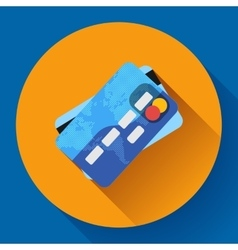 Credit card icon with long shadow flat vector