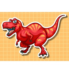 Red dinosaur with sharp teeth vector