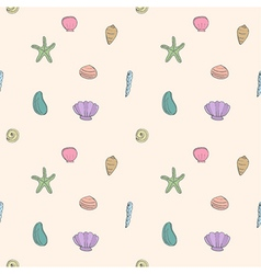 Seamless pattern of sea shells and starfish vector