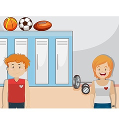 Boy and girl in the gym vector image