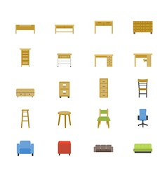 Furniture office and home accessories flat icons vector