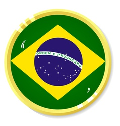 Button with flag brazil vector