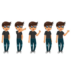 cute five man cartoon are standing vector image