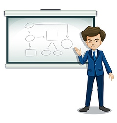 A boy explaining the diagram in the bulletin board vector image vector image