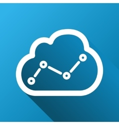 Cloud trend chart gradient square icon vector