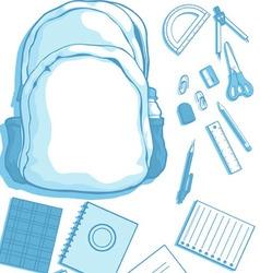 Costumizable Kits of School Bag and School vector image vector image