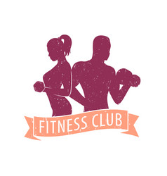 fitness club logo with athletic girl and man vector image