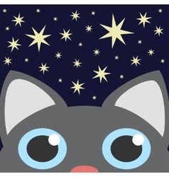 Grey Cat Looking Up In Night Star Sky vector image