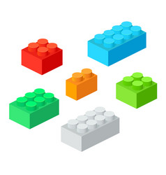 Isometric plastic building blocks with shadow vector