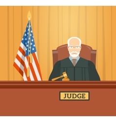 Judge in courthouse flat vector
