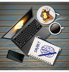 Laptop and phone with book and coffee and crepe vector
