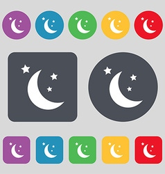 moon icon sign A set of 12 colored buttons Flat vector image vector image