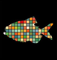 piranha fish mosaic silhouette aquatic animal vector image