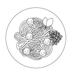 spaghetti dish icon vector image