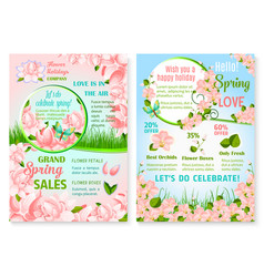 Spring holiday promo sale flowers posters vector