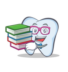 Student tooth character cartoon style with book vector