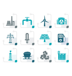 stylized power and electricity industry icons vector image vector image