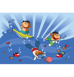 swimming kids vector image vector image
