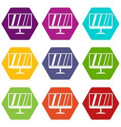 tv icon set color hexahedron vector image