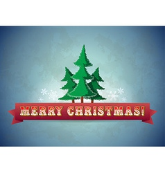 Vintage blue christmas greeting card with trees vector image vector image