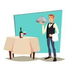 waiter serving modern waiter reserved vector image
