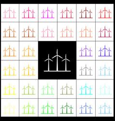 Wind turbines sign felt-pen 33 colorful vector