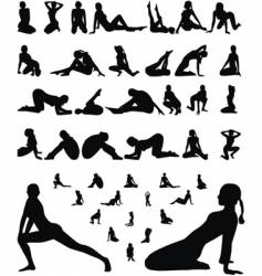 Woman erotic and sporty silhouettes vector