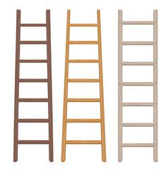 wooden ladder set vector image vector image