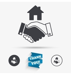 Home handshake sign icon successful business vector