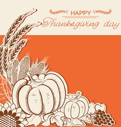 Thanksgiving day card with pumpkins and decoration vector