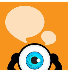 The blue eye talk with bubble quote vector image