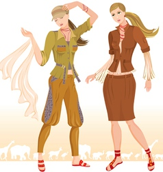 Summer fashion models 2 vector image
