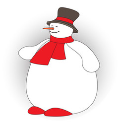 Cute fat snowman on white background vector