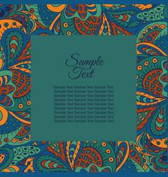 floral doodle etnic pattern frame for vector image