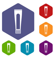 toothpaste tube icons set hexagon vector image