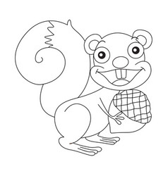 Animal outline for squirrel and nut vector