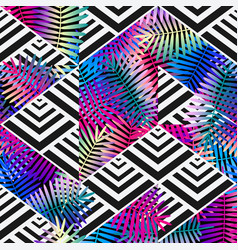 bright colors exotic leaves on geometric vector image