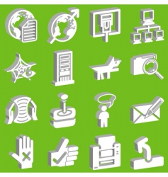 3D internet web icons vector image