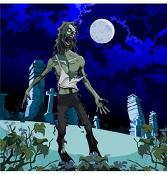 Scary zombie cemetery at night vector