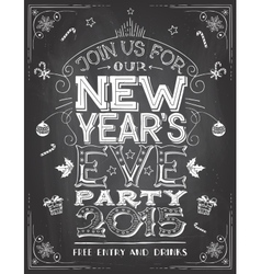 New Years Eve party invitation on chalkboard vector image