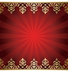 Red background with golden vintage borders vector