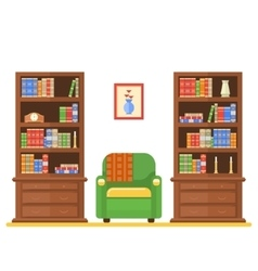 Room interior with two bookcases and armchair vector
