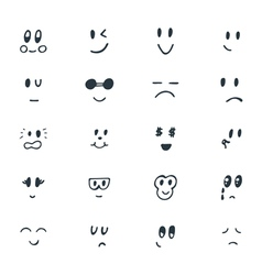 Set of hand drawn funny smiley faces sketched vector