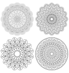 Set of ethnic round ornaments mandala vector
