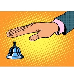 Reception desk call bell hand vector
