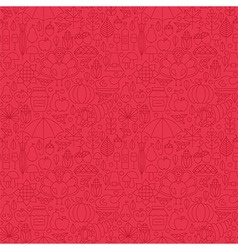 Thin holiday line thanksgiving day red seamless vector